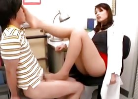 Dominating teacher delights stud with a lusty foot job