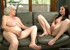 Young Russian chick Linda Love is eating ugly hairy twat of one old lesbian