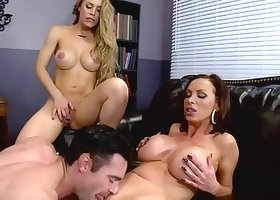 Goddesses with massive juggs are having a perfect threesome