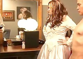 A curvy bride gets pounded doggystyle on her wedding night