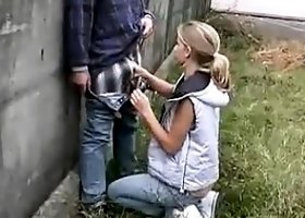 Amateur blowjob outdoor