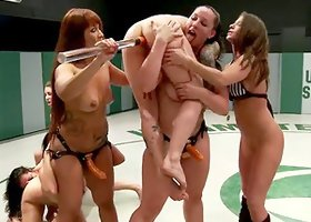 Group of kinky girls fight in a ring and toy pussies