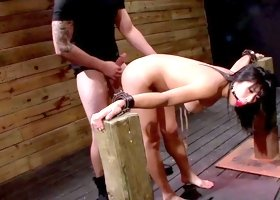 Japanese babe is being fucked with insane power