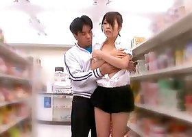 Lusty babe Riku Yamaguchi is having an public sex in the store
