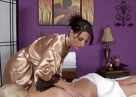 Funky robe brunette with a great tan pleasures her client