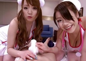 Sexy Japanese Nurses Examine His Penis