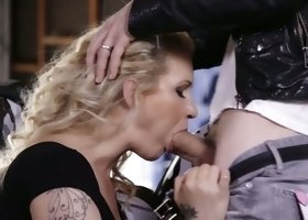 Perfect huge breasted office lady Ryan Conner gets nailed by lewd biker