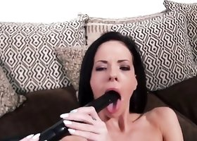Dick-crazy brunette fucks herself with a vacuum cleaner