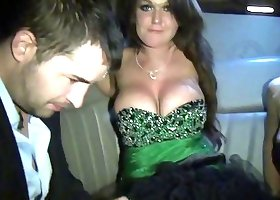 Extremely lustful blonde is having fun in the limo