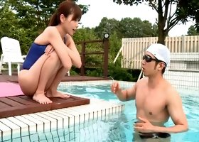 Sexy Asian girl in a swimsuit gets fucked outdoors by the pool