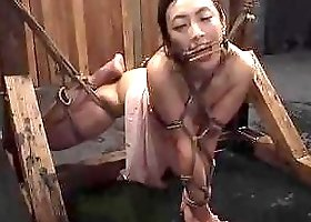 Tied up Japanese chick tied up and fingered BDSM porn