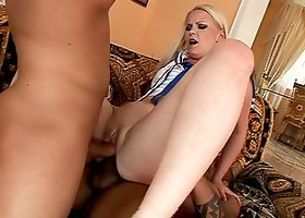 Angel Spice the hot blonde in uniform in hot DP video