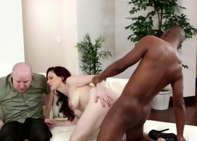 Redhead receives a large hard dick while her husband is watching