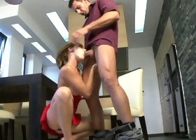 A blonde is getting her wet ass penetrated by a young strong man