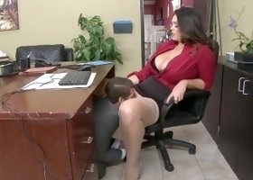 Interviewee fucks and busts a load of cum on Alison Tyler's mouth in the office