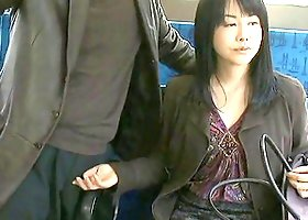 Stunning Asian Chick Gets Her Hairy Pussy Fingered In Bus