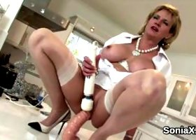 Unfaithful english mature lady sonia displays her huge boobs