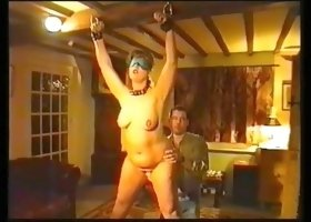 Submissive plump horn-mad busty lady is blindfolded and whipped hard