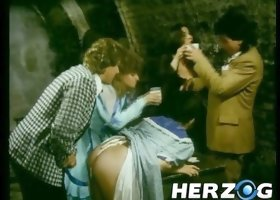 Slutty gal in medieval dress enjoys rear banging in a jail