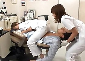 Sexy Asian dentist and her assistant fuck a patient