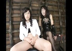 Naughty Oriental crossdresser reveals his handjob and blowj