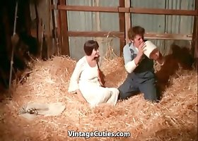 Busty Brunette's Hairy Cunt Fucked in a Barn (1970s Vintage)