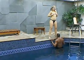 Lusty blondie gets banged in the indoor swimming pool