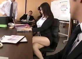 Stacked Asian beauty with sexy legs is addicted to hard cock