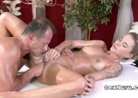 Cute blonde bangs experienced masseur