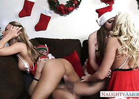 Crazy santa chicks Brooklyn Chase, Nicole Aniston and Summer Brielle give blowjob to Xander Corvus