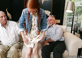 Redhead teen with tiny boobs Dolly Little fucks ugly older man