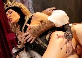 Beauty in costume is sucking a big dick