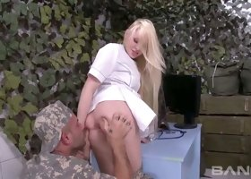 Yummy military nurse Lola Taylor had steamy ass fuck with brutal officer outdoors