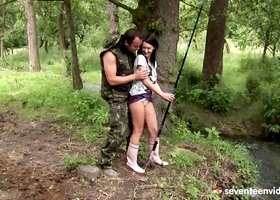Horny and masculine soldier wrecks Angelica's twat hardcore in the jungle