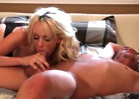 Adorable blond milf Stormy Daniels gets her pussy licked and fucked