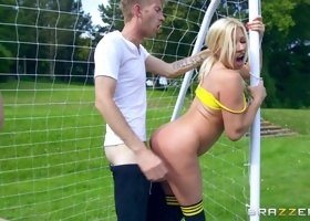 Lucky guy has the soccer-loving ladies impale themselves on his dong