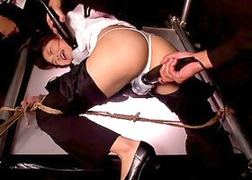 Thong Clad Slave Vibrated While She is in Bondage