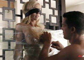 Blindfolded Christie Stevens sucks and rides on a thick cock