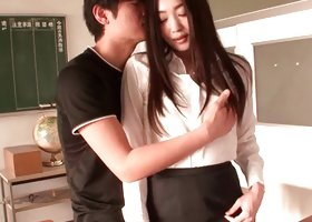 Daring japanese student in stockings is having fun with her dude